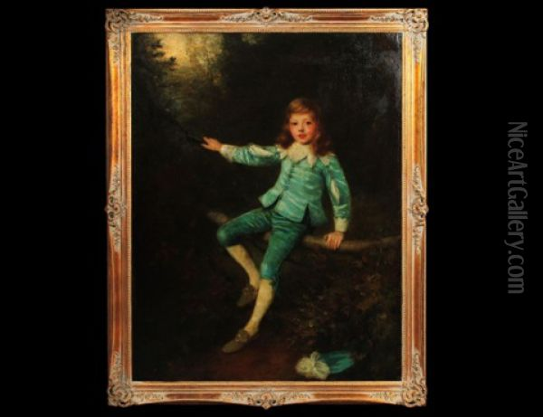 Young Boy In Blue Oil Painting - William Robert Symonds