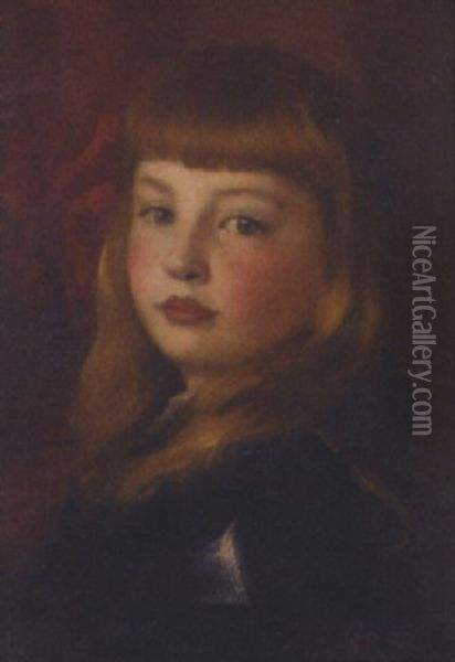 Portrait Of The Hon. Lady Violet Agar-robartes Of Lanhydrock, Cornwall Oil Painting - William Robert Symonds