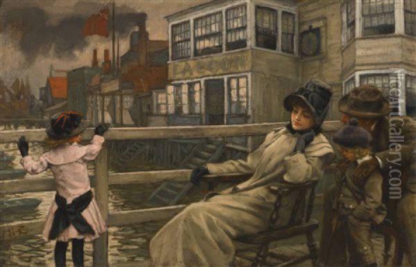 Waiting For The Ferry Oil Painting - James Jacques Joseph Tissot