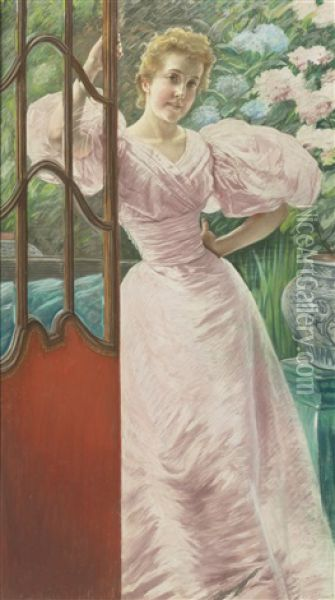 Portrait Of A Young Woman In A Conservatory Oil Painting - James Jacques Joseph Tissot
