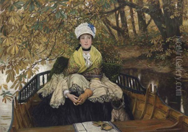 Waiting (also Known As In The Shallows) Oil Painting - James Jacques Joseph Tissot