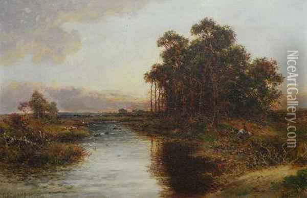 Autumn Evening On The River Severn Oil Painting - Carl Brennir