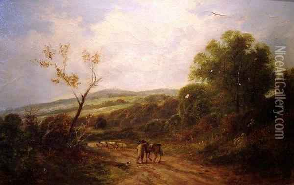 Man With Horse And Sheep On A Country Road Oil Painting - Carl Brennir