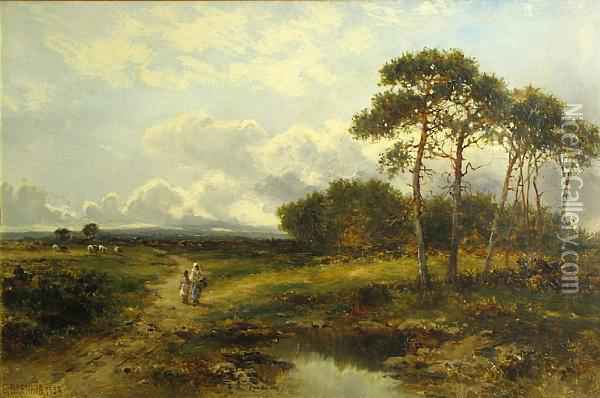 A Pastoral Landscape With Two Figures By A Pond Oil Painting - Carl Brennir