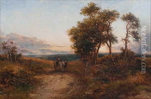 Figures And A Horse And Cart On A Countrylane Oil Painting - Carl Brennir
