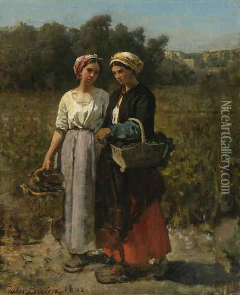 Two Young Women Picking Grapes (study For The Vintage At Chteau Lagrange) Oil Painting - Jules Breton