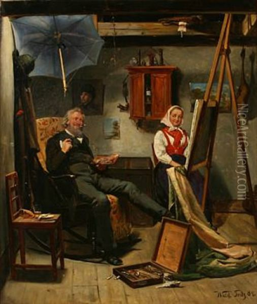 Interior With The Painter And His Model Oil Painting - Knut Gustaf Waldemar Tode