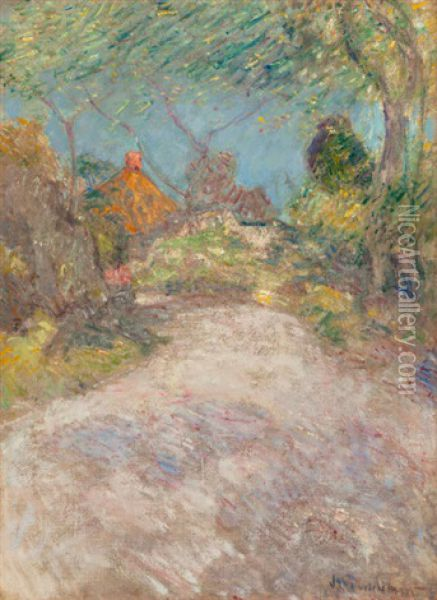 The Back Road, Circa 1890s Oil Painting - John Henry Twachtman