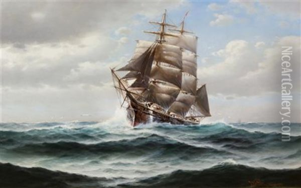 Fishing Schooner Out Of Gloucester Oil Painting - Theodore Victor Carl Valenkamph