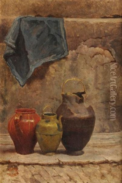 Nature Morte Aux Pichets Oil Painting - Theodore Valerio