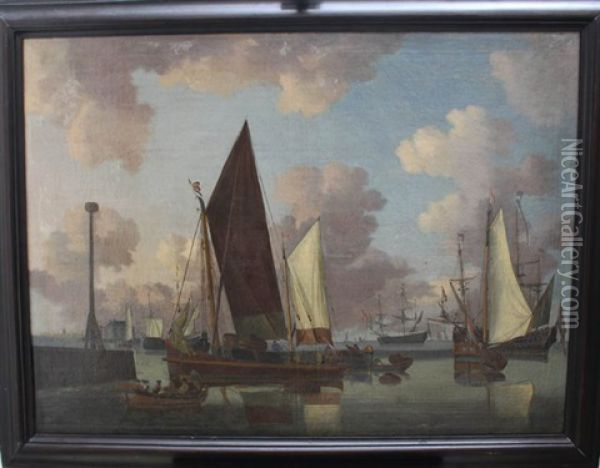 Ships And Boats At Calm Sea Oil Painting - Willem van de Velde the Younger