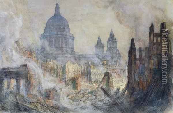 The Aftermath Of The Blitz St Paul S Cathedral Oil