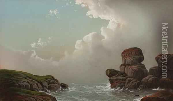 A Rocky Inlet Oil Painting - George Douglas Brewerton