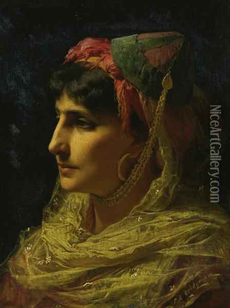 Portrait Of A Woman Oil Painting - Frederick Arthur Bridgman