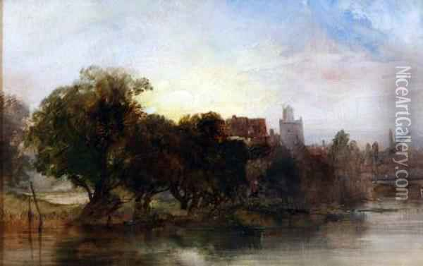 On The Banks Of The River Oil Painting - Henry Bright