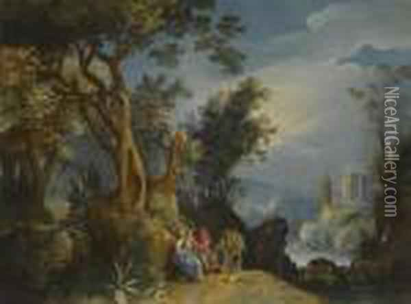 The Rest On The Flight Into Egypt Oil Painting - Paul Bril