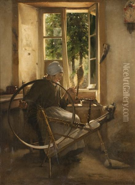 Bauerin Am Spinnrad Oil Painting - Eugene Vincent Vidal