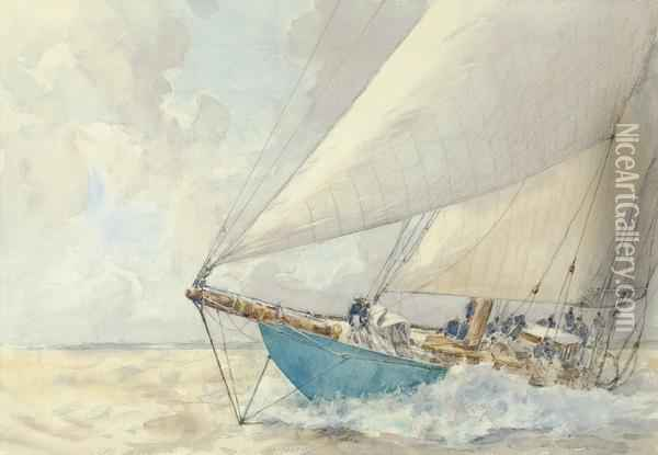 Astra   Pounding Through The Waves Oil Painting - Arthur John Trevor Briscoe