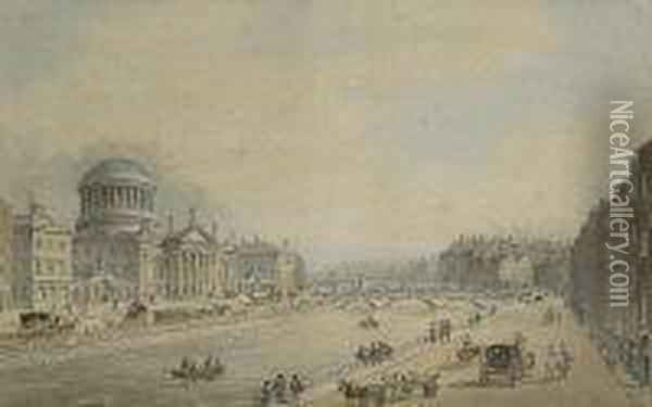 View Of The Four Courts On The River Liffey, Dublin Oil Painting - Samuel Frederick Brocas