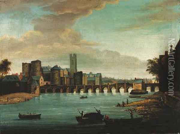 A View Of Limerick With Old Thomond Bridge Oil Painting - Samuel Frederick Brocas