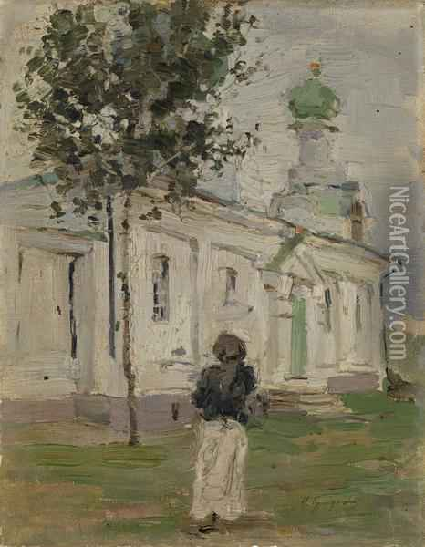 By The Church Oil Painting - Isaak Israilevich Brodsky