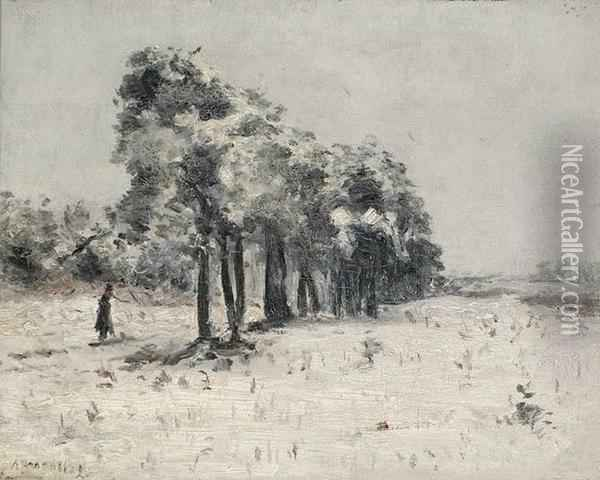 Strolling In The Snow Oil Painting - Andre Broedelet