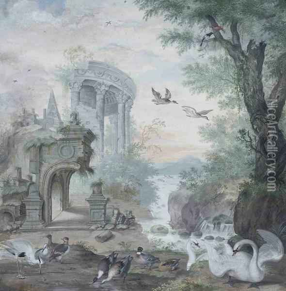 A Capriccio River Landscape With Part Of A Classical Rotunda And Apyramid, With Swans, A Mallard, A Heron And A Kingfisher Oil Painting - Johannes Bronkhorst