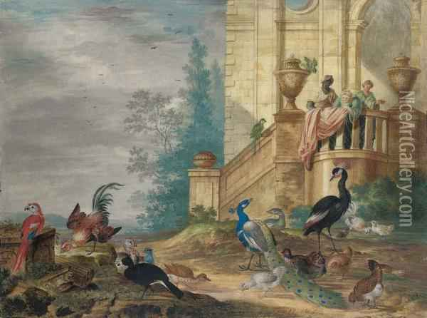 Birds In The Grounds Of An Elegant House, Including Ared Macaw, A Green Parrot, A Peacock And Peahen, A Turkey Andhens Oil Painting - Johannes Bronkhorst