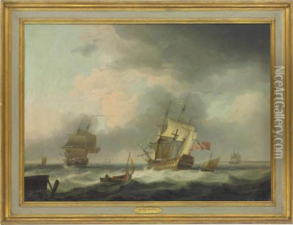 A '74' And A Frigate In A Stiff Breeze In The Channel Oil Painting - Charles Brooking
