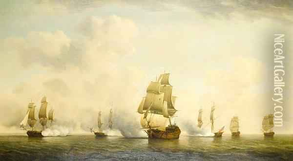 The Capture Of A French Ship By The Englishprivateer Squadron Known As The 'royal Family' Oil Painting - Charles Brooking