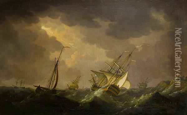 Men O'-war Off A Rocky Coastline Oil Painting - Charles Brooking