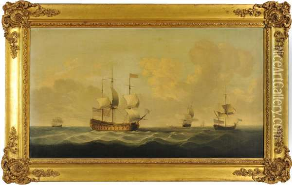 A Flagship Wearing A Flag Of The Vice Admiral Of The Red,  Before The Wind Oil Painting - Charles Brooking