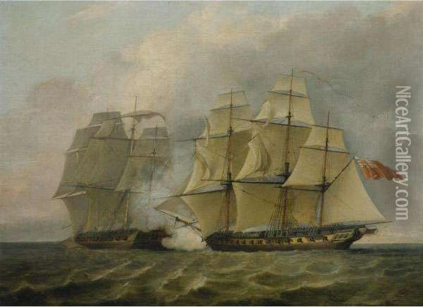 The Battle Between The Chesapeake And The Shannon Oil Painting - Charles Brooking