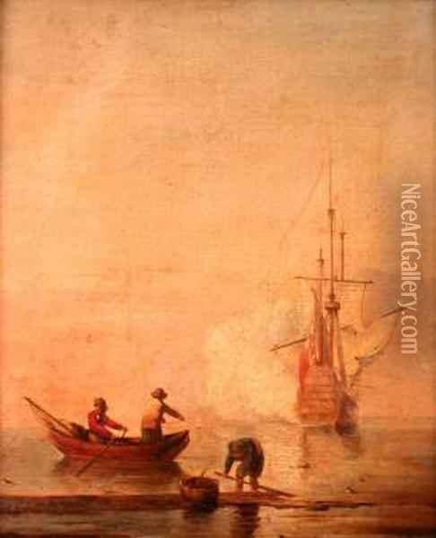 Hauling The Nets Oil Painting - Charles Brooking