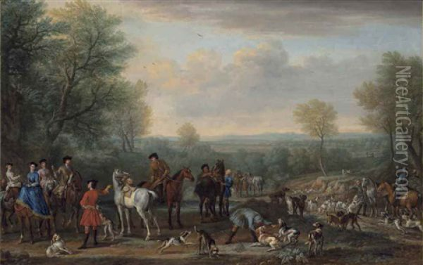 The Meet: A Hunting Party, With Figures, Horses And Hounds, In An Extensive Wooded Landscape Oil Painting - John Wootton
