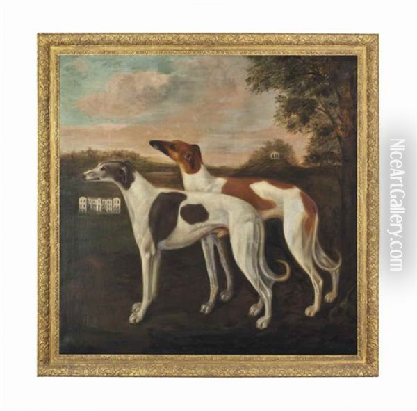 Two Greyhounds In A Wooded Landscape With Parham House And A Temple Beyond Oil Painting - John Wootton
