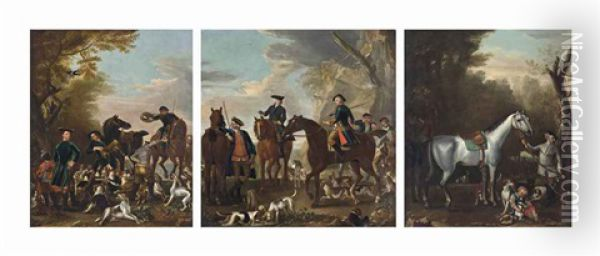 Viscount Weymouth's Hunt: The Death Of The Fox; Coming At The Death; And Returning From The Chase (3 Works) Oil Painting - John Wootton