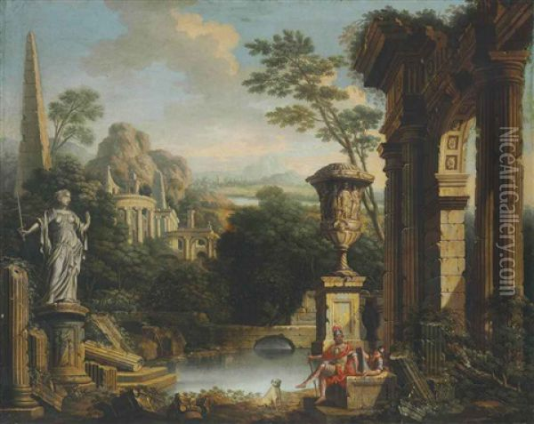 An Arcadian River Landscape With Soldiers Resting Among Classical Ruins Oil Painting - John Wootton