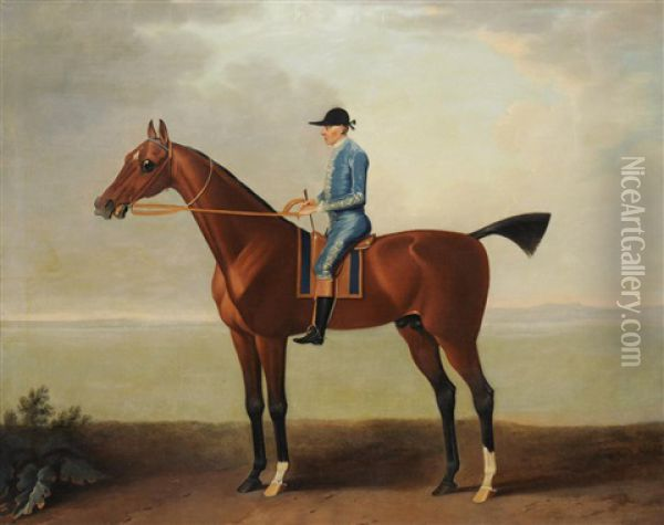 Lady O'brien's Horse With Footman Oil Painting - John Wootton
