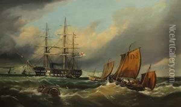 Man-o-war Off Dover Oil Painting - William Broome Of Ramsgate