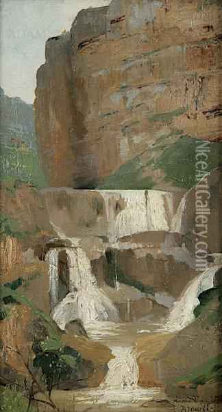 Style Of Pierre Andre Brouillet Rocky Waterfall Landscape Oil On Canvas, 32.5 X 17.5cm Signed Oil Painting - Pierre Andre Brouillet