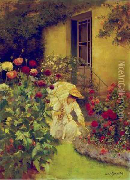 In The Garden Oil Painting - Pierre Andre Brouillet