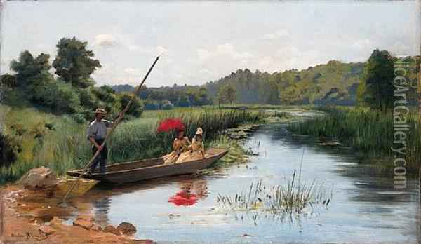 Sunday Boating Oil Painting - Pierre Andre Brouillet