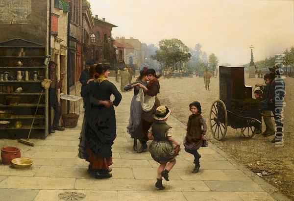 An Impromptu Dance: A Scene On The Chelsea Embankment Oil Painting - Frederick Brown