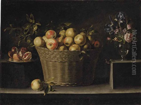 Apples In A Wicker Basket, An Opened Pomegranate On A Silver Plate And Roses, Irises And Other Flowers In A Glass Vase, On A Stone Ledge Oil Painting - Juan de Zurbaran