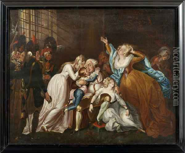 King Louis Xvi Of France Saying Farewell To His Family Oil Painting - Mather Brown