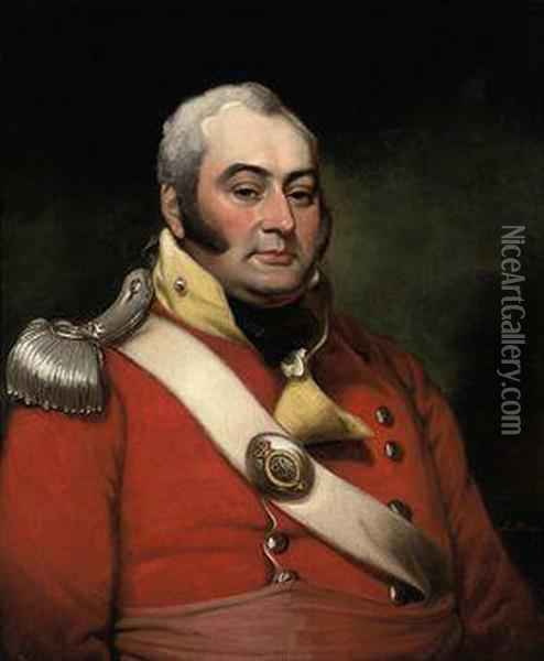 Portrait Of George Fermor, 3rd Earl Of Pomfret (1768-1830),half-length, Wearing The Uniform Of A Captain In Thenorthamptonshire Militia Oil Painting - Mather Brown