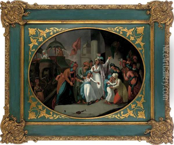 The Departure Of The Sons Of Tippoo Sultan From The Zenana Oil Painting - Mather Brown