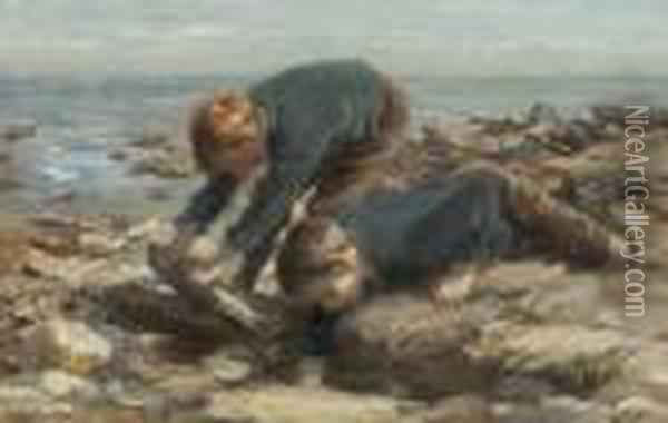 Boys Playing In A Rock Pool Oil Painting - William Mason Brown