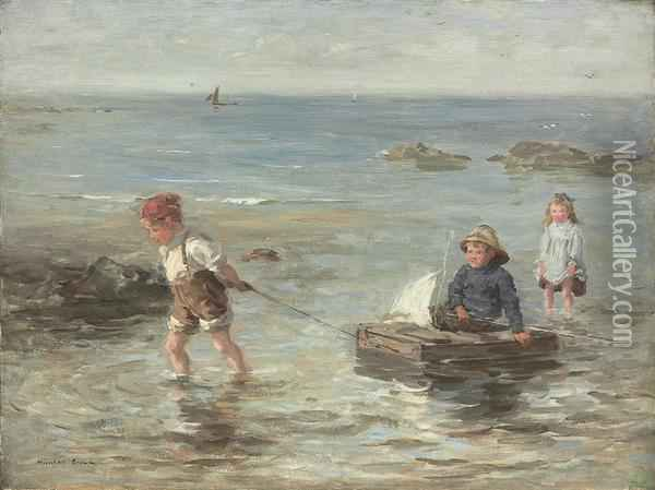 At The Water's Edge Oil Painting - William Mason Brown